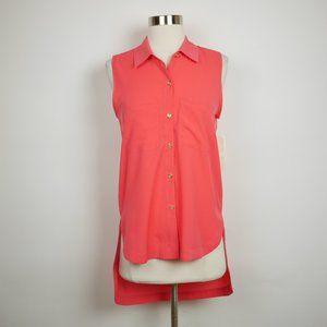 GIANNI BINI Coral loose sleeveless chiffon blouse